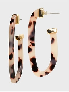 Large Animal Resin Hoop Earrings