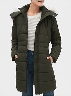 Petite Faux Fur Hooded Long Puffer Jacket