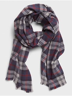 Navy Red Plaid Scarf