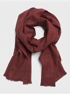 Burgundy Windowpane Scarf