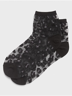 Leopard Sheer Bootie Socks