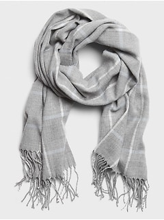 Plaid Grey Lurex Scarf
