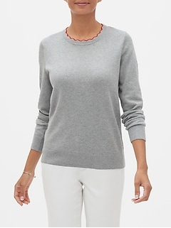 Washable Forever Scallop Crew Neck Sweater