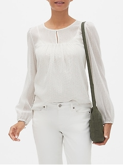 Shirred Yoke Shine Blouse