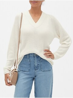 Chunky V-Neck Tunic Sweater