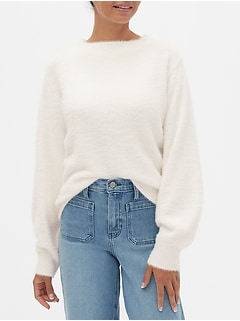 Eyelash Volume-Sleeve Boat Neck Sweater