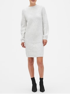 Lantern-Sleeve Cable Sweater Dress