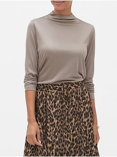 SilkyLuxe Funnel-Neck Top