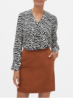 Zebra Print Pleated Top
