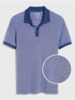 Slim-Fit Herringbone Collar Pique Polo