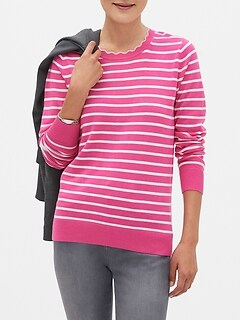 Washable Forever Stripe Scallop Crew-Neck Sweater