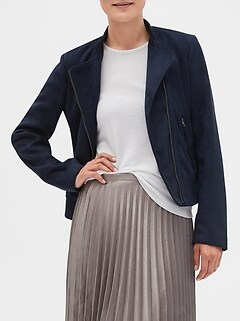 Petite Ribbed Trim Vegan Suede Jacket