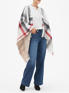 Reversible Red Plaid Poncho