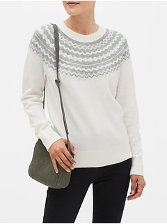 Petite Cozy Fair Isle Crew-Neck Sweater