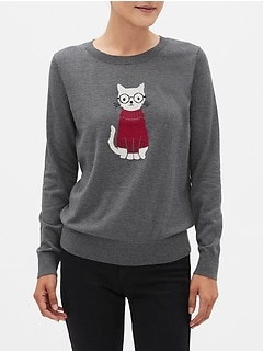 Washable Forever Smart Cat Crew-Neck Sweater