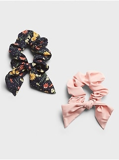 Floral Bow Scrunchie (2 Pack)