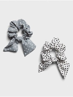 Preppy Dot Bow Scrunchie (2-pack)