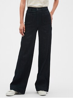 Petite High-Rise Wide-Leg Denim Rinse Jean