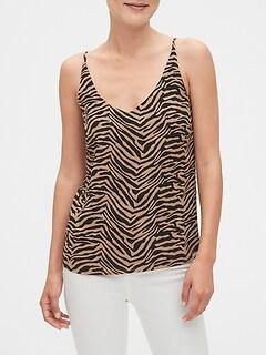 Zebra Print V-Neck Classic Camisole