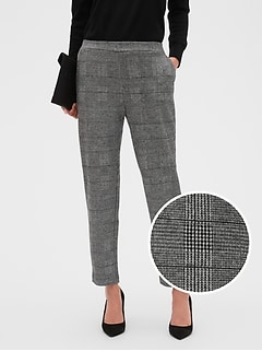 Petite Hayden Pull-On Knit Brushed Plaid Ankle Pant