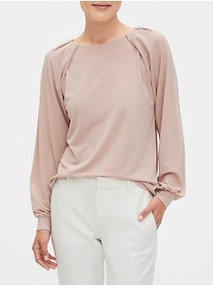 Pleated-Sleeve Top