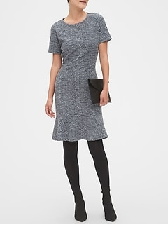 Boucle Flounce Hem Sheath Dress