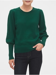 Volume-Sleeve Crew-Neck Sweater
