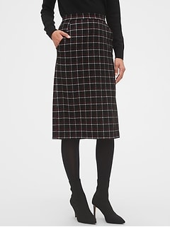 Knit Plaid Pencil Skirt