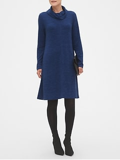 Cowl-Neck Fit and Flare Sweater Dress