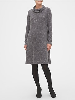 Petite Cowl-Neck Fit and Flare Sweater Dress