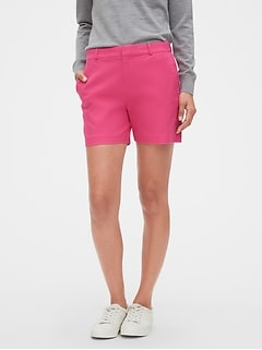 Petite Tailored Pink Pique Shorts - 5 inch inseam