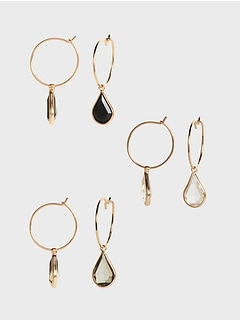 Mini Hoop Drop Earrings Multipack