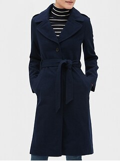 Petite Long Military Wool Trench Coat