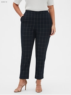 Hayden Pull-On Luxe Windowpane Ankle Pant