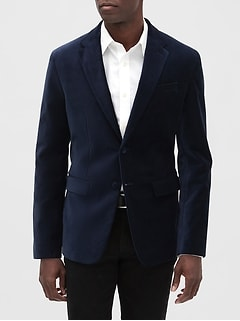 Slim-Fit Navy Velvet Blazer