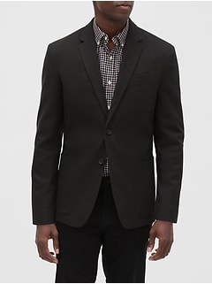 Slim-Fit Chocolate Herringbone Blazer
