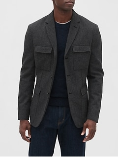 Slim-Fit Texture Military Blazer