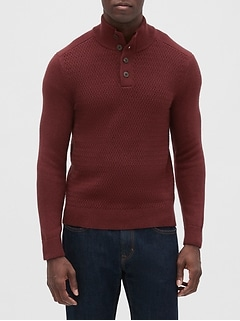 Diamond Stitch Mock-Neck Sweater