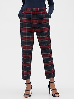 Petite Hayden Pull-On Tartan Plaid Flannel Ankle Pant
