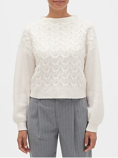 Cable Mock-Neck Sweater