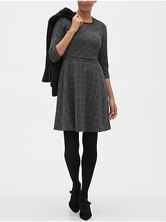 Piped Plaid Fit and Flare Dress