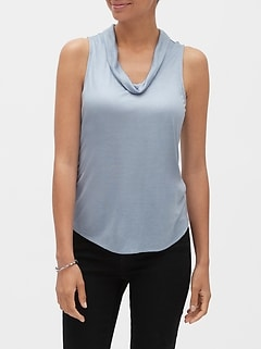 SilkyLuxe Drape-Neck Top