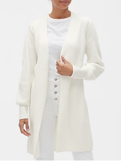 Petite Ribbed Open-Front Duster Cardigan