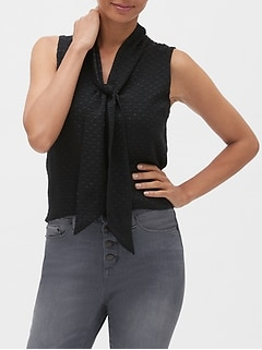 Petite Jacquard Dot Scarf-Neck Top