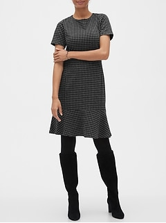Houndstooth Boucle Sheath Dress