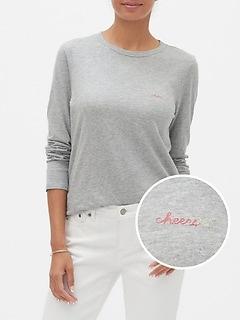 Petite Long-Sleeve Embroidered T-Shirt