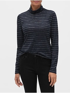 Petite Stripe LuxeSpun Turtleneck Top