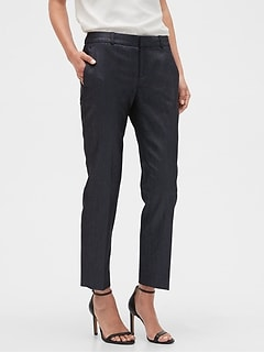 Petite Avery Metallic Shine Tailored Ankle Pant