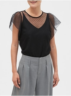 Flocked Dot Top