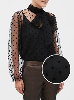Tie-Neck Flocked Dot Top